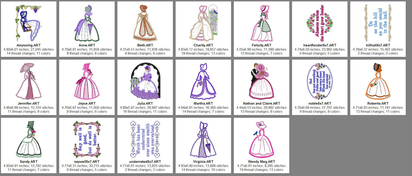 Victorian Ladies 2 Size chart